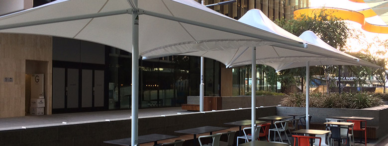 commercial white umbrella skyspans in Perth