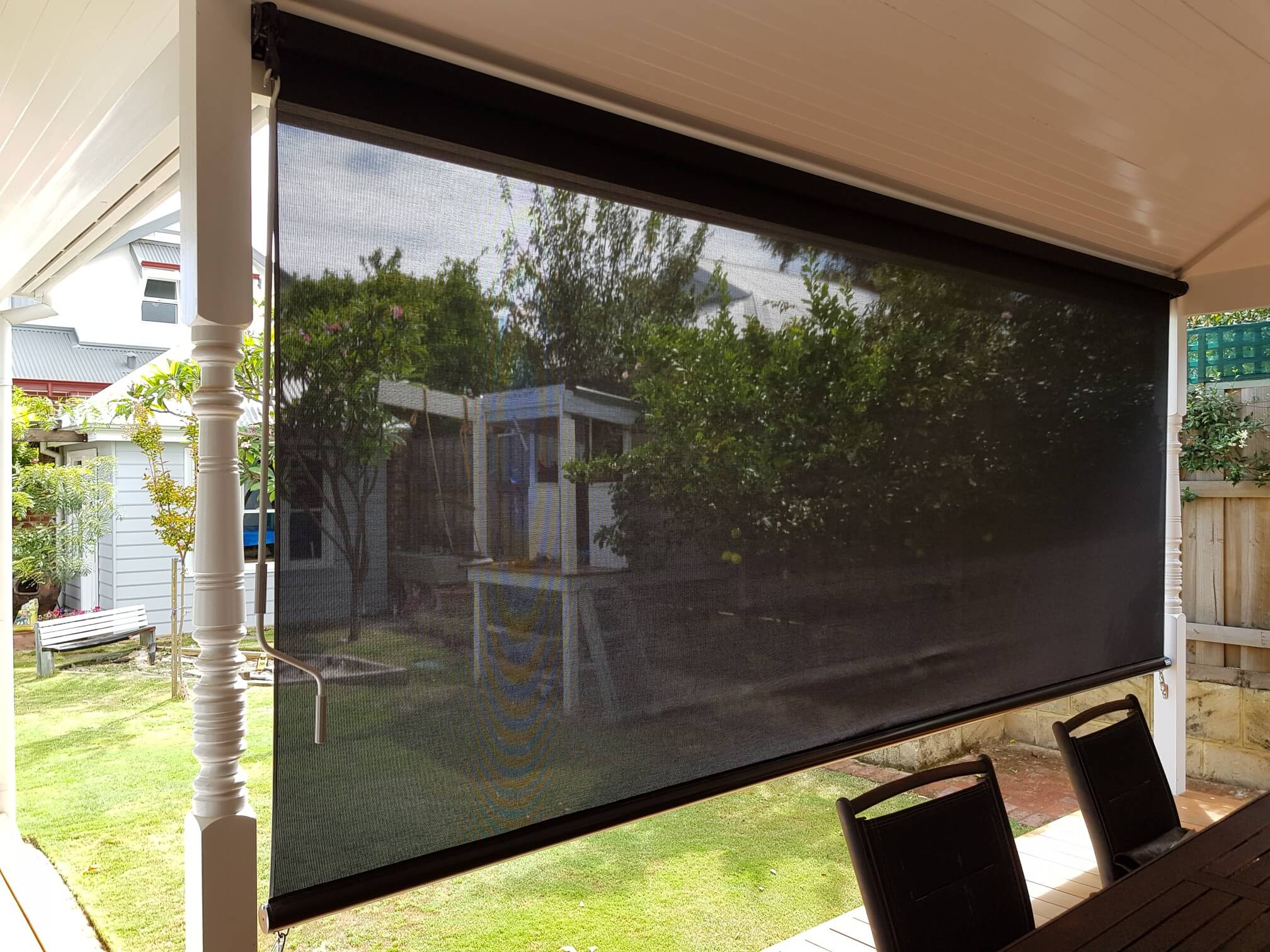 Patio Mesh Blinds Roll Down - Outdoor Shade Blinds - Kenlow